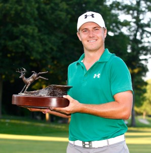 PGA winner Jordan Spieth poses with the DeMille-designed John Deere Classic trophy (Photo courtsey of John Deere Classic)