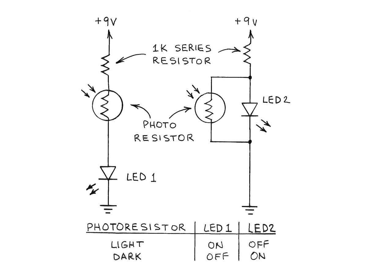 Amateur Scientist Experimenting With Light And Dark Sensors Make The Schematic Of Darkactivated Switch Circuit We Will Build Is Photoresistor Photoresistors Are Ideal For Nightlights Left