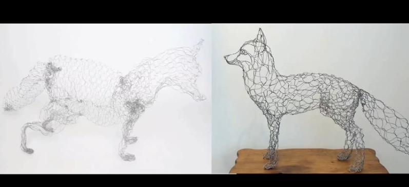 Wire fox sculpture