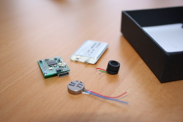 The MetaWear basic platform comes with the MetaWear board, a rechargeable USB battery, a coin vibrator, and a buzzer.