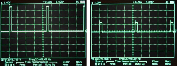 "The signal output by a commercial R/C receiver (left) compared to that from an iPhone headphone jack at maximum volume. The iPhone is playing a sound synthesized to mimic a servo control signal. This type of variable-width ""square wave"" signal is called a pulse-width modulated, or PWM, waveform."