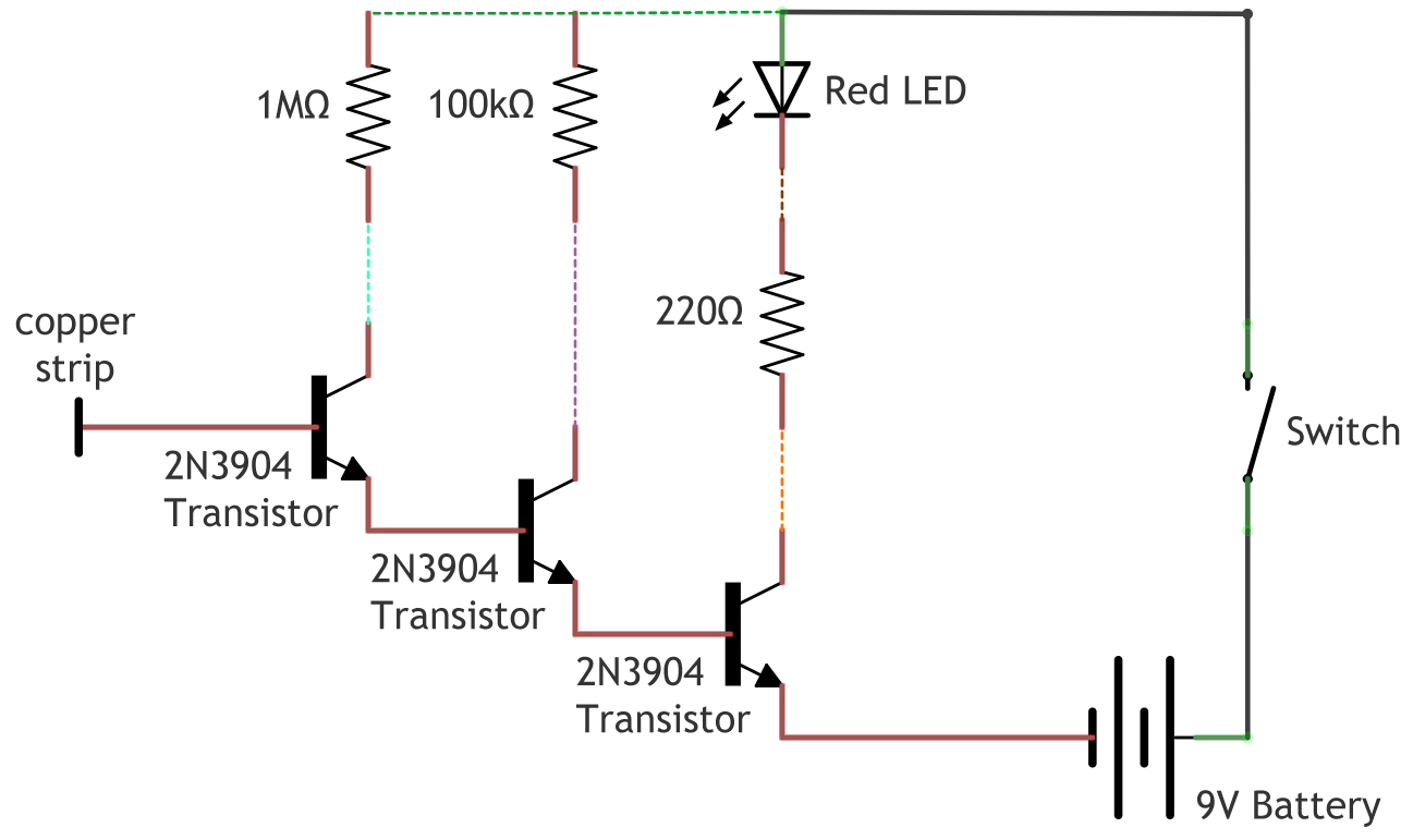 Non Contact Voltage Detector Make Wiring Diagram Switch Leg Drop If You Use The Output From One Transistor To Control Another Gains Multiply With Two Transistors Ideal Gain Becomes 200 40000
