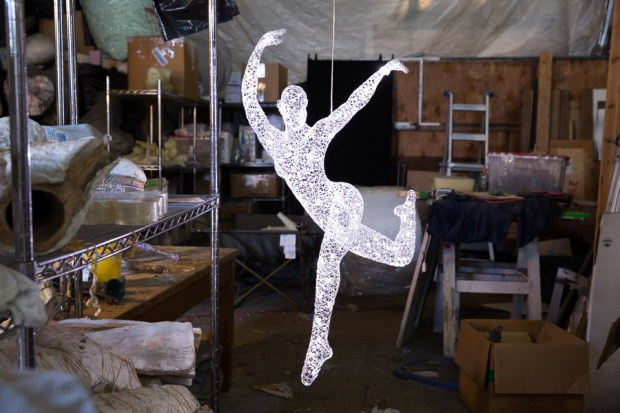 """""""Each figure is created by hand-weaving wire stitch-by-stitch around a solid wax form,"""" Gard writes, """"which is melted away. As far as I know a metal sculpture has never been made that is light enough to be lifted by a helium balloon."""""""