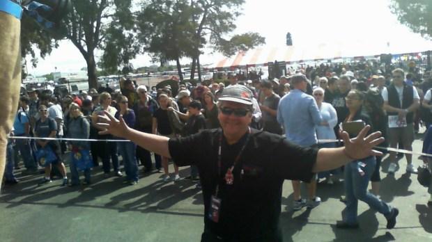 Dale Dougherty preparing to open the gates.
