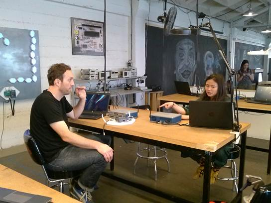 TechShop staff work with National Instruments' VirtualBench