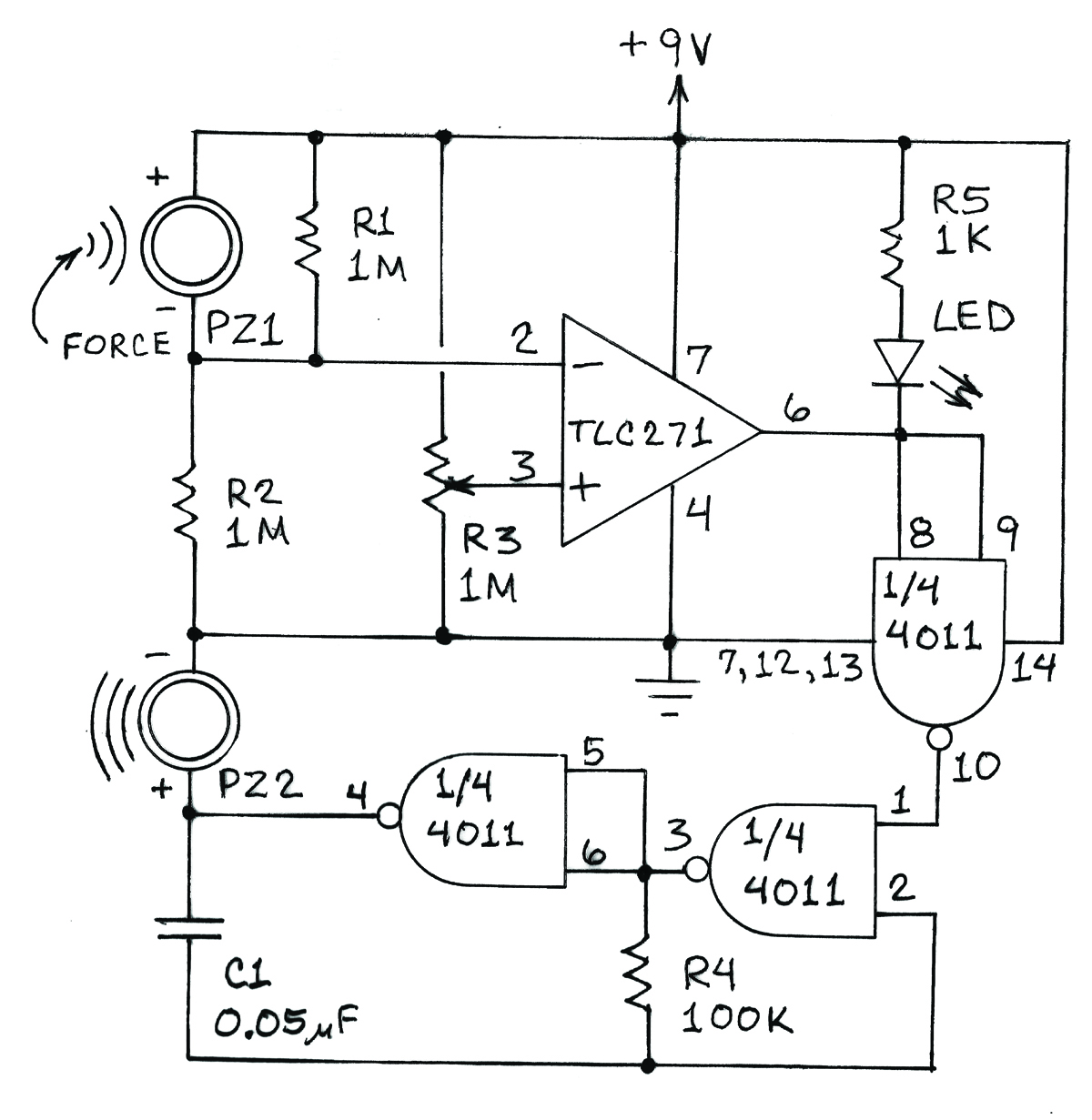 Make Your Own Precise Vibration Sensors Voice Warning Circuit Diagram Sensorcircuit In Operation R3 Is Adjusted Until The Output Of Op Amp Switches From Low To High This Off Tone Generator Formed By A 4011 Quad Nand Gate