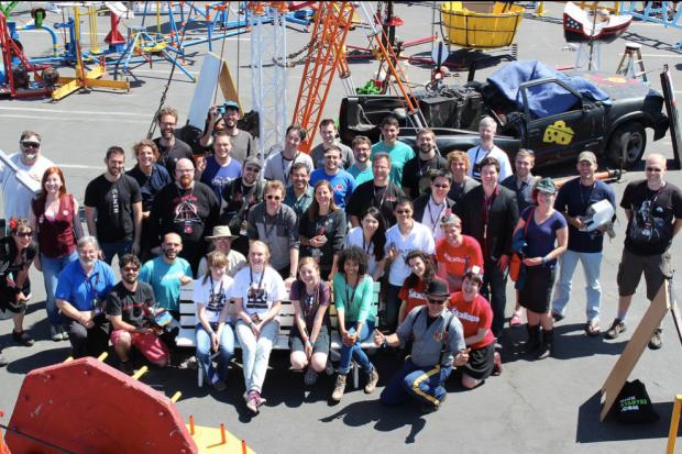 All the Kickstarter project creators at Maker Faire. Photo via Julio Terra.