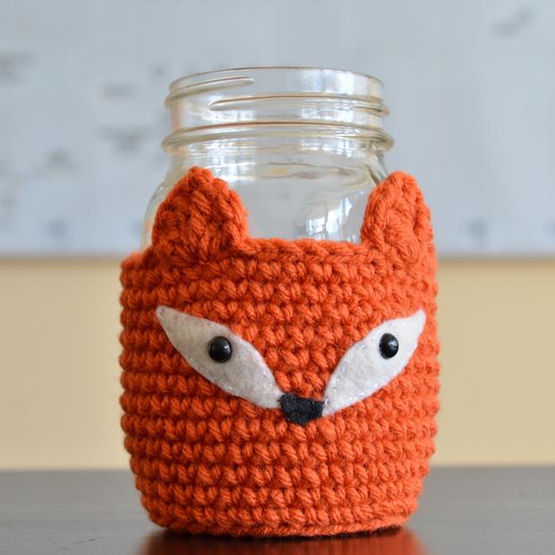 How-To: Crocheted Fox Mason Jar Cozy