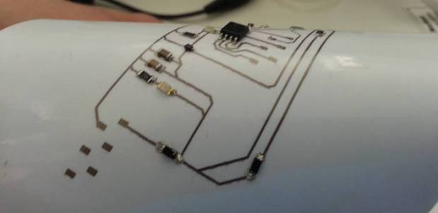 The conductive ink printing of the Squink can easily be used to produce flexible circuits
