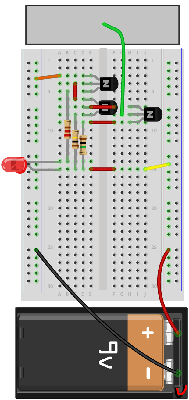 I could have used fewer wires to jump from transistor-to-transistor, but I opted to separate each component instead to make the junctions more clear. See the original circuit schematic for comparison.