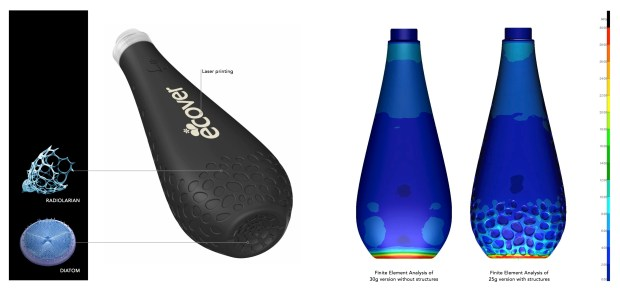 Ecover Ocean bottle, its inspiration, and FEM showing performance with and without biomimimetic solution.