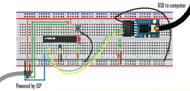 Note: To finish up the project, connect the LED (through a 220-ohm current-limiting resistor) to the AVR's PB0, and connect the pushbutton to the AVR's PB1 and then to ground.