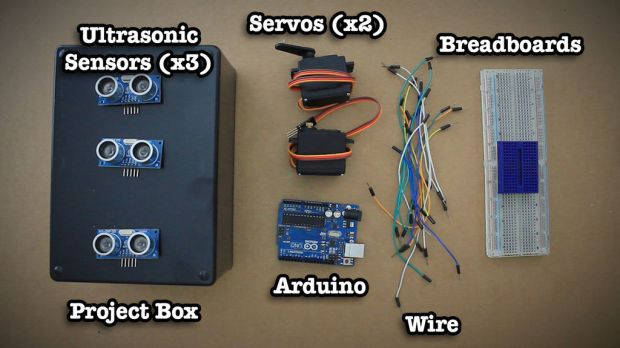 Everything needed to build your own Motion Controlled Ultrasonic Lamp minus the dremel
