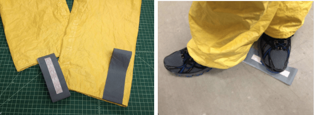 Cuff tabs to ease pant legs over boots
