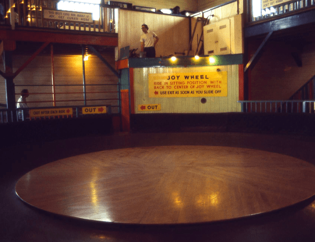 The Joy Wheel, at the now mostly defunct / relocated Playland at the Beach. Read on for a vivid, gorey memory of physics experiments by a San Francisco teen employee there decades ago. Photo courtesy of Mike Winslow's  Playland at the Beach