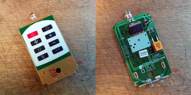 """The remote I bought has 8 buttons. The surface-mounted IC is a PT2221M-001, """"designed for use on infrared remote control applications"""" which sell for around 10¢ each wholesale."""