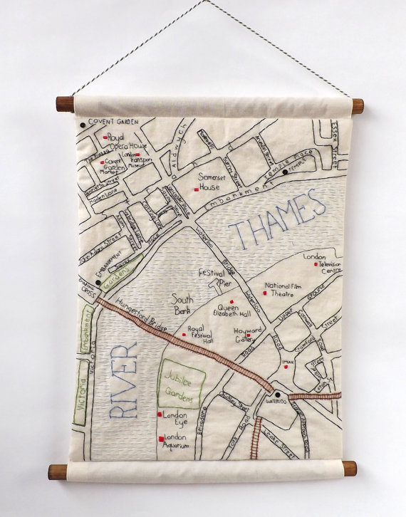 having trouble finding your way around london perhaps one of these hand embroidered maps of london neighborhoods by alex of stitchcity will help you out