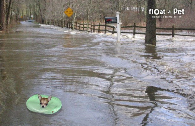 Some pets love to swim but sometimes the water can become treacherous and actually harm them or worse. To help those water-loving pets survive those situations, inventor Jed Berks designed Float-a-Pet- an inflatable collar to keep them afloat. The collar is outfitted with a CO2 cartridge that inflates the collar when a humidity sensor becomes submerged. It's also outfitted with solar powered LEDs so owners can find their pets after dark.