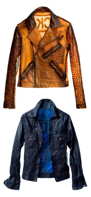 "Suzanne Lee's designer jackets whose ""fabric"" was grown by fermenting sweet tea with a culture of yeast and bacteria, then sewn together and dyed them with indigo (and other natural dyes). Image via Xsead"