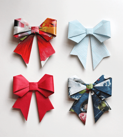 Origami Bow Folding Instructions | 444x400