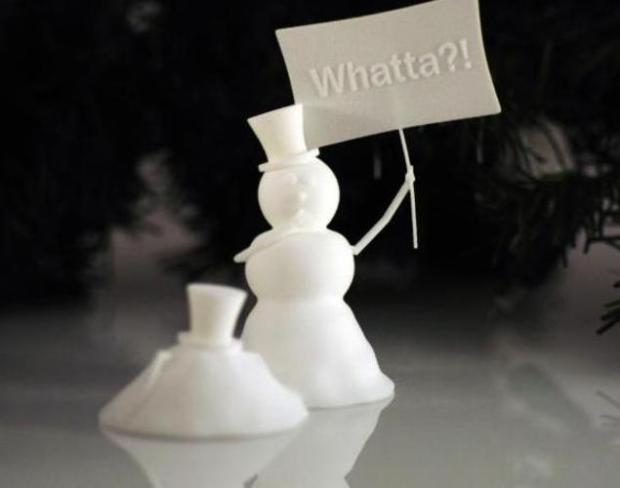 Strangely enough, Shapeways has designed an ornament that brings horror to the holiday festivities with their 'Snowman Murder' decoration. It can be had in multiple materials, including metals, plastic and sandstone starting at $31.82 for simple white nylon up to $251 for the 24k gold version.