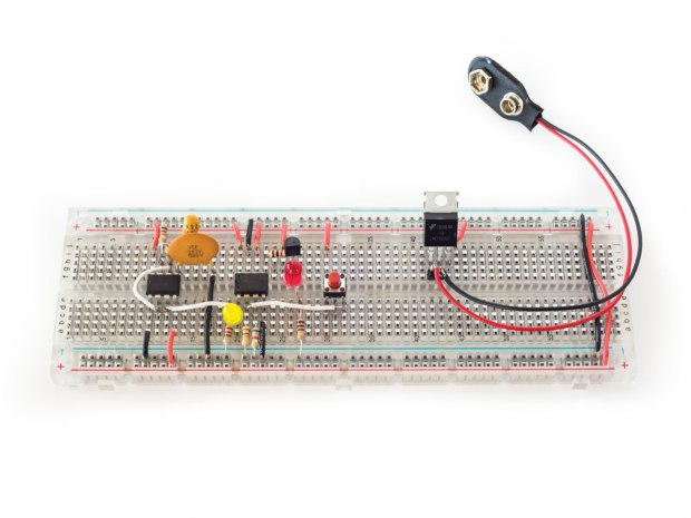 Figure D: The previous circuit has been modified to control a red LED through its full range of brightness.