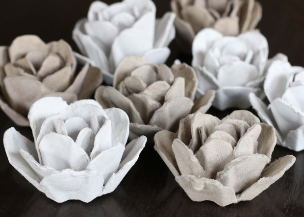 egg carton roses - all