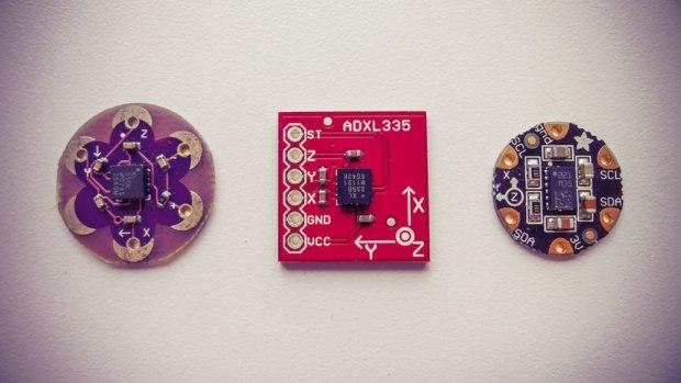 Accelerometers: LilyPad Accelerometer, ADXL 335, Flora Accelerometer