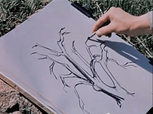 Artist Three and his tree.