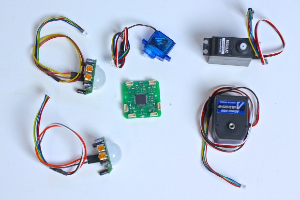 Powering the Robotic Nerf Gun is a series of servo motors and motion sensors all plugged into a controller board.