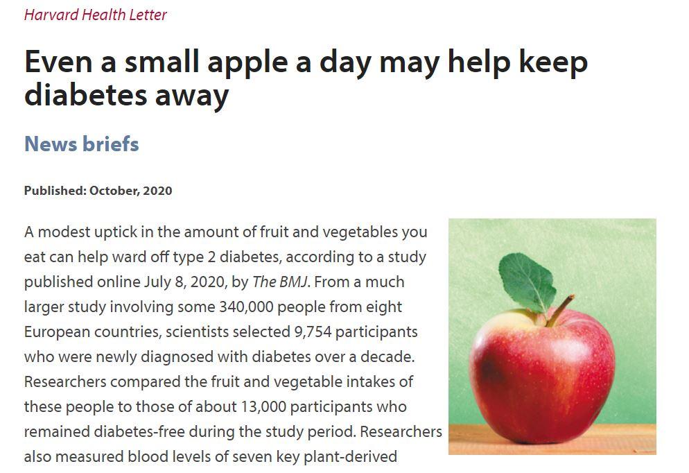 英國醫學期刊BMJ新研究:一天一蘋果。遠離第2型糖尿病
