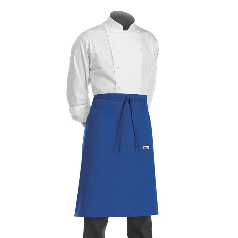 tablier de cuisine demi chef couleur bleu egochef