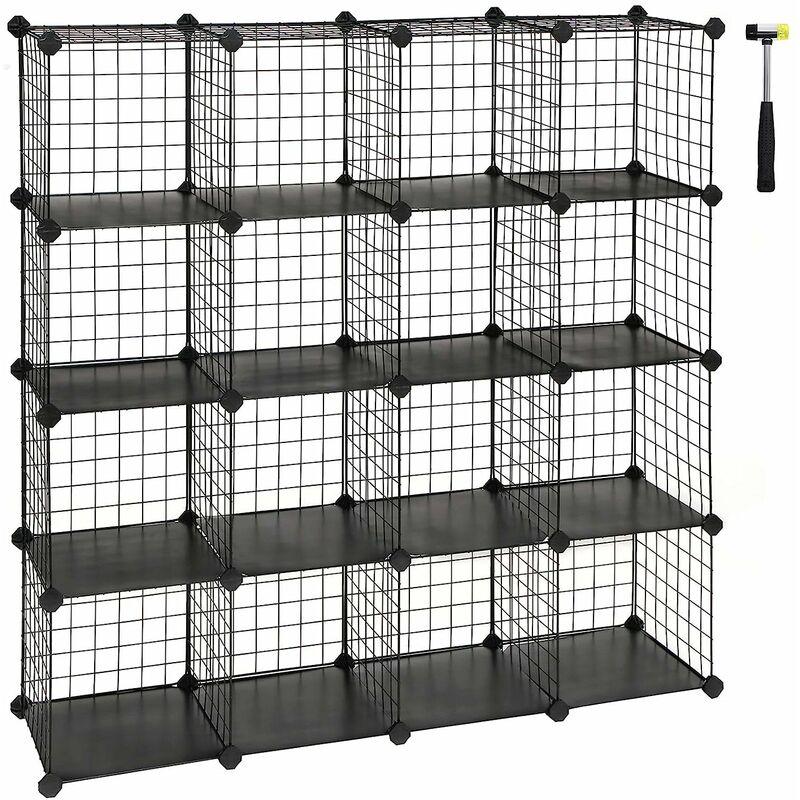 16 cubes de rangement en treillis metallique placard armoire avec etageres modulaires noir blanc