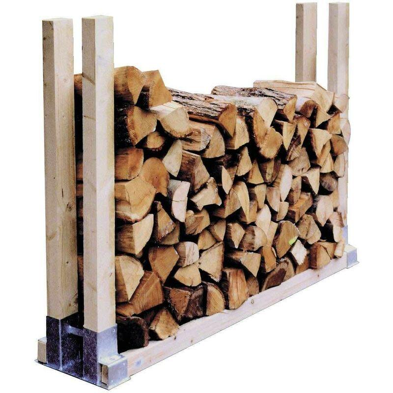 2 range buches supports en metal pour rangement du bois de chauffage