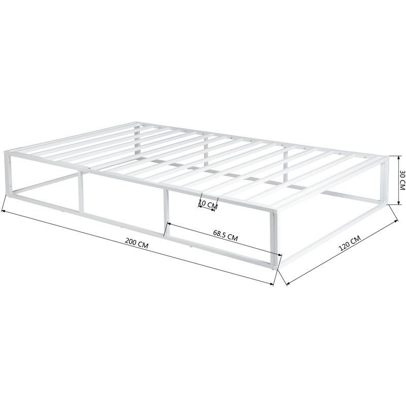3703 lit simple structure de lit cadre de lit 120 x 200 cm blanc avec sommier sans matelas