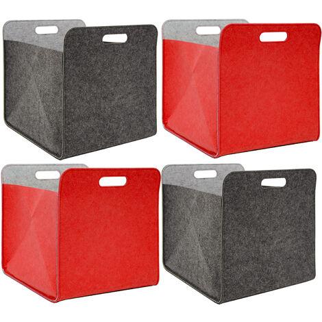 4 Boîtes De Rangement Feutre 33x33x38 Cm Kallax Panier