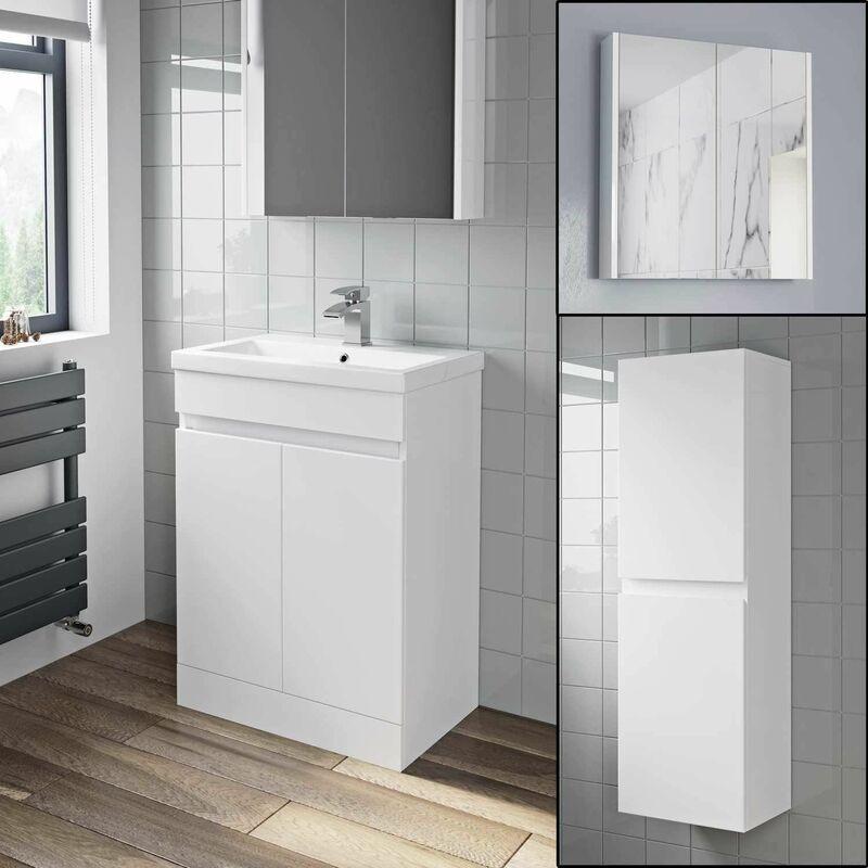 600mm Basin Vanity Unit Mirror Cabinet Tall Cupboard Bathroom Bundle Fnartpckwh1
