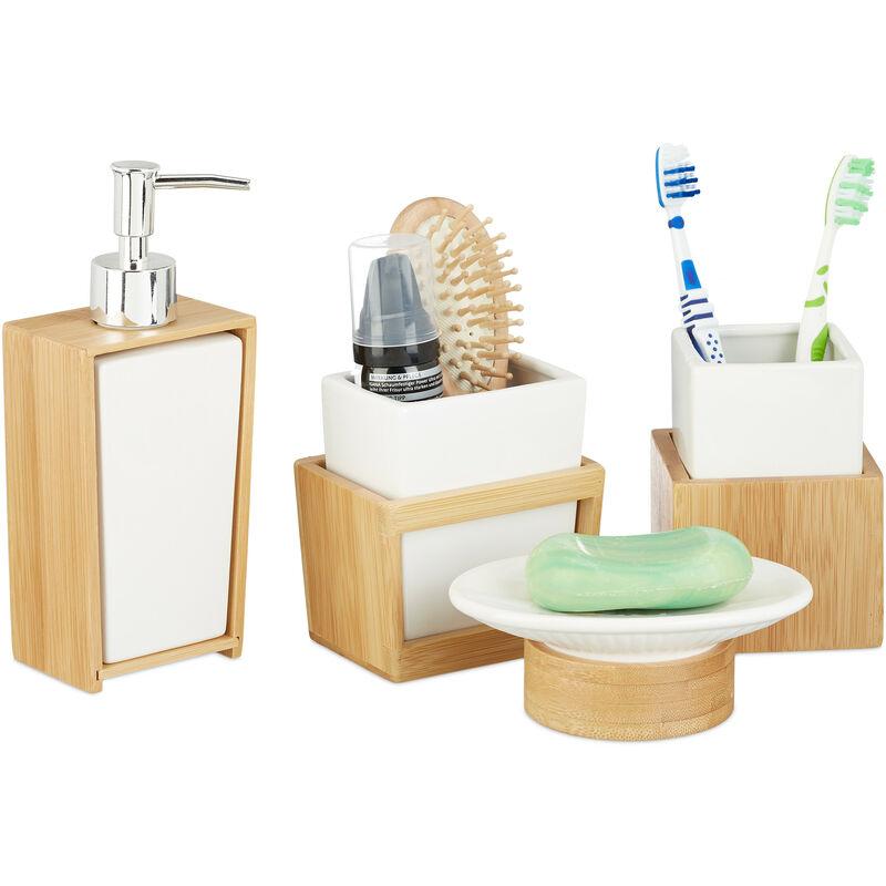 Accessoires Salle De Bain Bambou Ceramique Set 4 Pieces Distributeur Savon Gobelet Brosse A Dent Nature Blanc 2100222052186