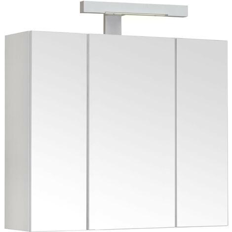Allibert Armoire De Toilette Eclairante 60 Cm 3 Portes Miroirs Blanc Brillant Prise Ute Pian O Tnt 814046