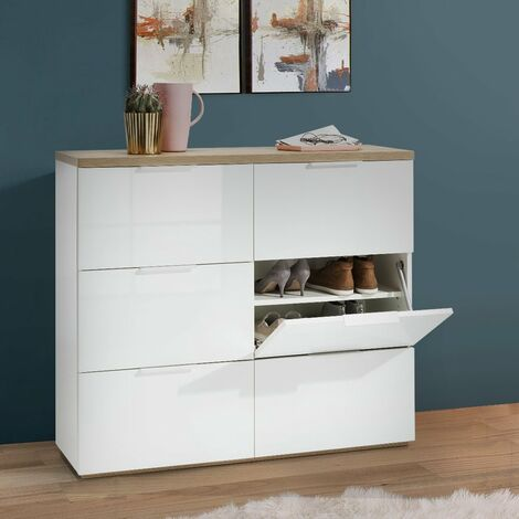 armoire a chaussures 6 tiroirs a rabat couleur blanc lucide 24 chaussures