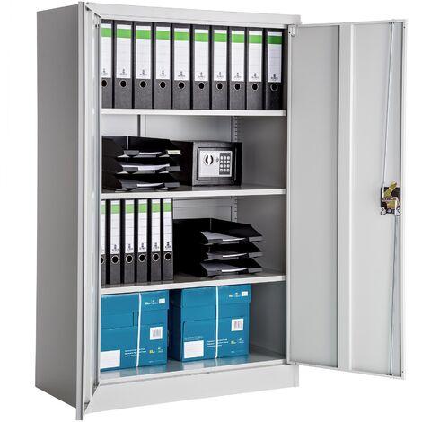 armoire de bureau meuble de classement de rangement a 3 etageres reglables a 2 cles en