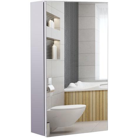 Armoire Miroir Rangement Toilette Salle De Bain Meuble Mural Dim 30l X 14l X 55h Cm Acier Inox