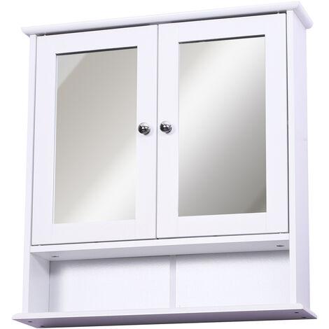 Armoire Murale Etagere Salle De Bain 56l X 13l X 58h Cm Double Porte Miroir Etagere Reglable Mdf Blanc Blanc 834 182
