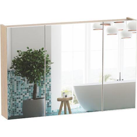 Armoire Murale Miroir Salle De Bain 3 Portes 3 Etageres Dim 90l X 14l X 60h Cm Panneaux Particules Chene Clair 834 163