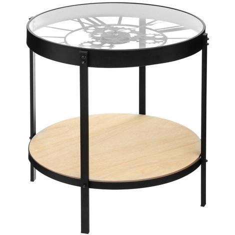 atmosphera table a cafe avec pendule mecanique hauteur 49 cm
