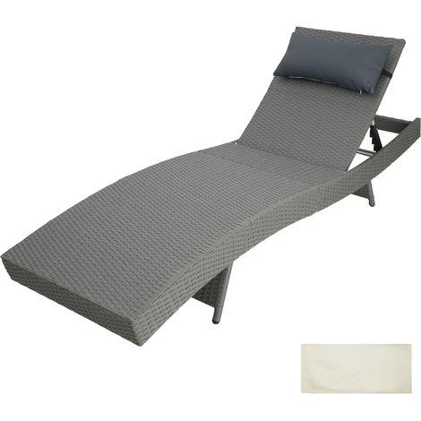 chaise longue pliable pvc blanc dossier