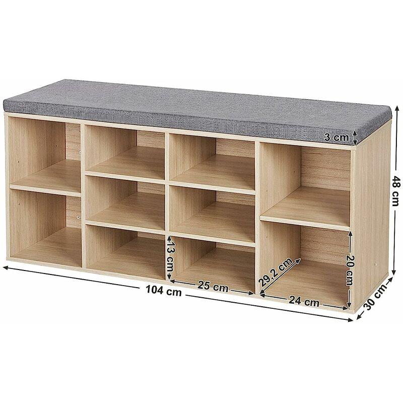 banc armoire etagere meuble a chaussures banquette de rangement avec coussin pour l entree en bois bois naturel blanc