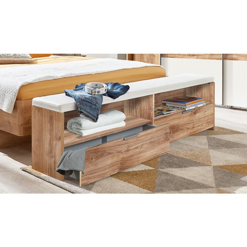 banc bout de lit avec coussin et 2 tiroirs imition chene poutre rechampis blanc dim 185 x 48 x 33cm pegane
