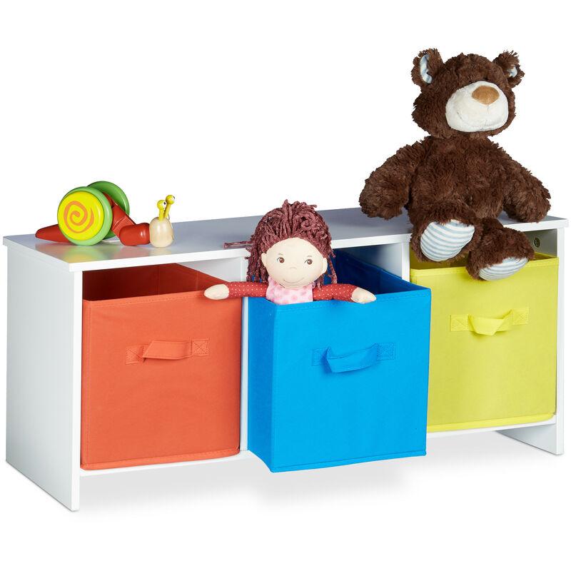banc de rangement enfant albus caisse a jouets coloree banc en bois boite a jouets pliable hxlxp 35 5 x 81 x 29 cm blanc