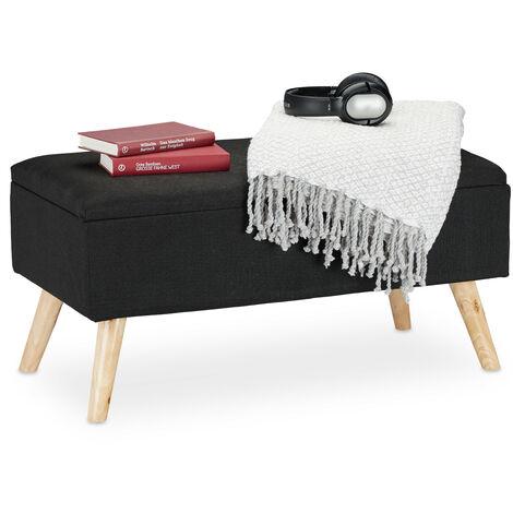banc de rangement rembourre pieds en bois coffre avec revetement en tissu 39 5 x 79 5 x 39 cm noir